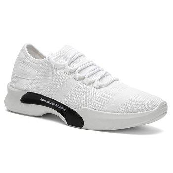 Mesh Breathable Tie Up Athletic Shoes - WHITE 41