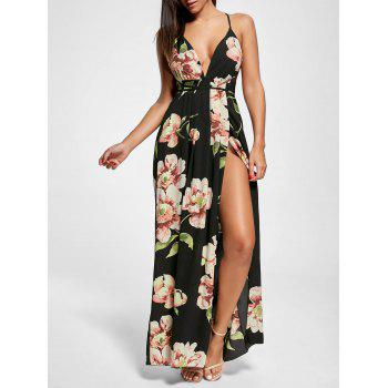 Floral Print Slit Open Back Maxi Dress