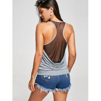 Raceback Sheer Scoop Neck Tank Top - M M