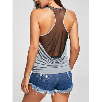 Raceback Sheer Scoop Neck Tank Top - GRAY M