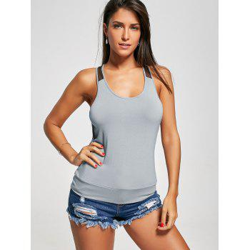 Racerback Sheer Scoop Neck Tank Top - GRAY L