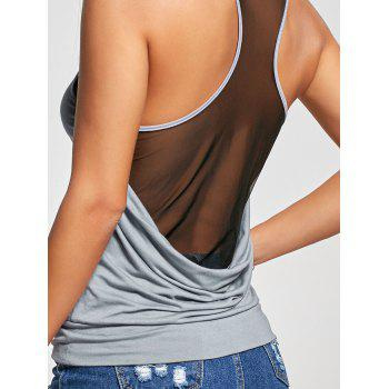 Racerback Sheer Scoop Neck Tank Top - GRAY 2XL