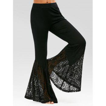 High Waisted Lace Insert Bell Bottom Pants