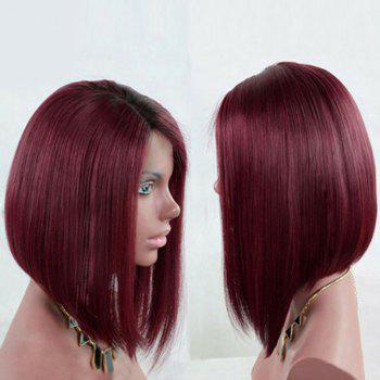 Dark Root Side Part Straight Short Bob Synthetic Wig