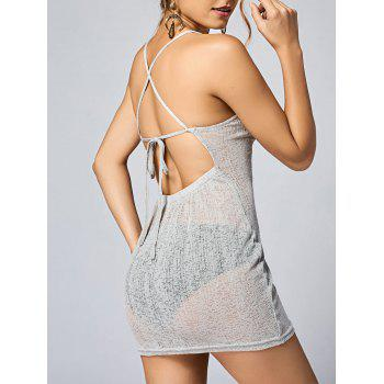 See Thru Backless Knitted Mini Dress - LIGHT GREY L