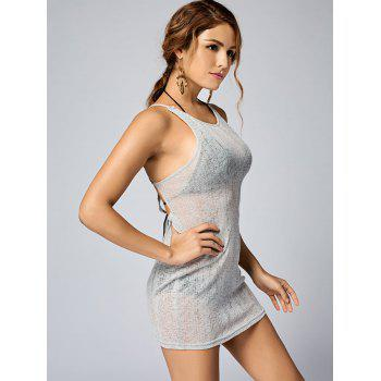 See Thru Backless Knitted Mini Dress - L L