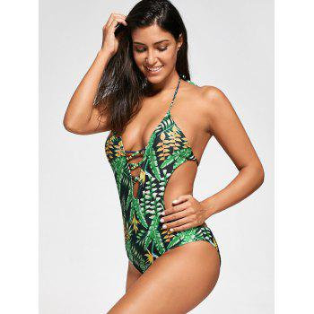 Backless Plunge Monokini with Tropical Print - XL XL