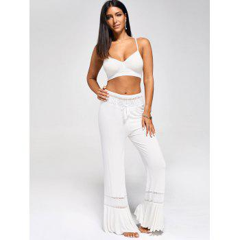 High Waisted Lace Panel Palazzo Pants - WHITE 2XL