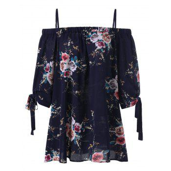 Plus Size Floral Cold Shoulder Blouse