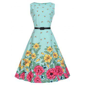 Bees Floral A Line Sleeveless Vintage Dress