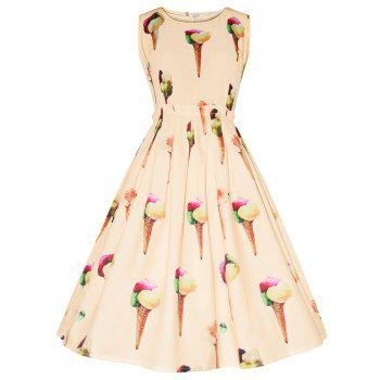 Vintage Ice Cream Print Dress