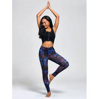 High Waist Butterfly Print Workout Leggings - COLORMIX 2XL