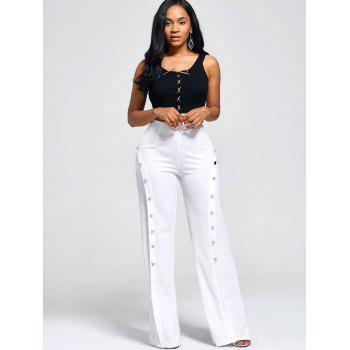 High Waist Boot Cut Pants with Buttons