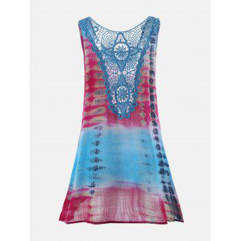 Tie-Dyed Sleeveless Lace Insert Tunic Dress - COLORMIX L