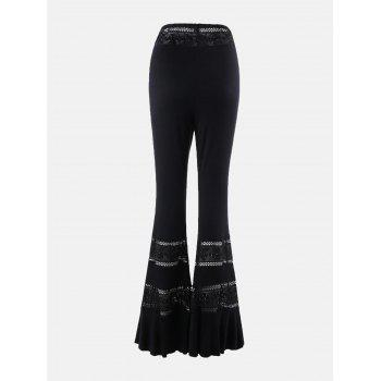 Lace Panel High Waist Tassel Flare Pants - BLACK BLACK