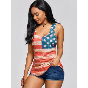 Lace Insert Stars and Stripes Racerback Tank - COLORMIX XL
