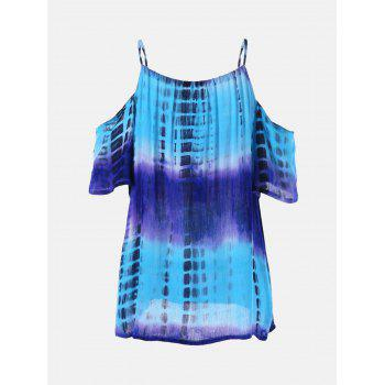 Tie-Dyed Print Cold Shoulder Ombre T-Shirt - XL XL