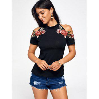 Flower Embroidered Cold Shoulder Halter T-Shirt