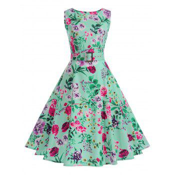 Sleeveless A Line Floral Vintage Dress