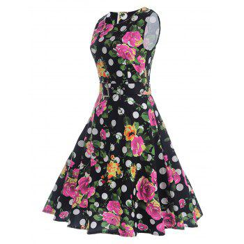 Polka Dot Floral A Line Vintage Dress - BLACK M