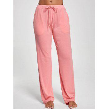 Vertical Pocket Drawstring Pants - PINK 2XL