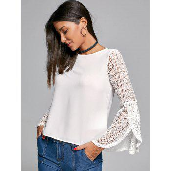 Lace Panel Flare Sleeve Blouse - WHITE 2XL