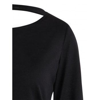 Angel Wings Printed Cut Out Long Sleeve T-shirt - BLACK 2XL