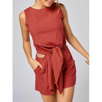 Sleeveless Knotted Top and Pockets Shorts Set - JACINTH JACINTH