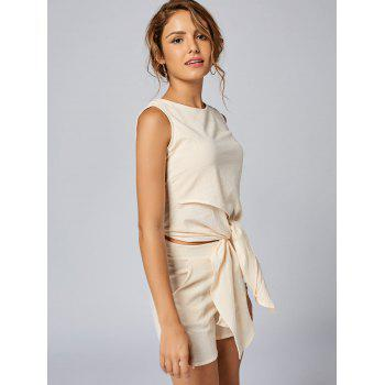 Sleeveless Knotted Top and Pockets Shorts Set - APRICOT APRICOT