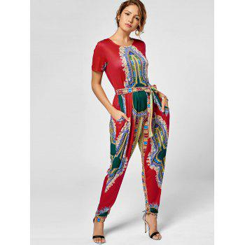 Tribe Print Belted Jumpsuit - RED RED