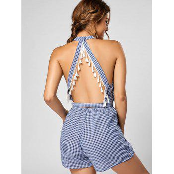 Mock Neck Checked Tassel Cutout Romper - BLUE/WHITE BLUE/WHITE