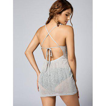 See Thru Backless Knitted Mini Dress - LIGHT GREY LIGHT GREY