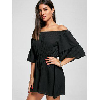 Off The Shoulder Smocked Ruffle Romper - BLACK BLACK