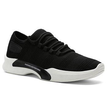 Mesh Breathable Tie Up Athletic Shoes - BLACK BLACK