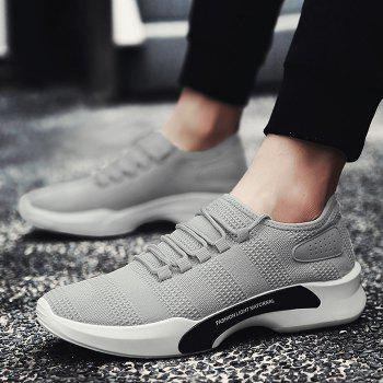 Mesh Breathable Tie Up Athletic Shoes - GRAY 44