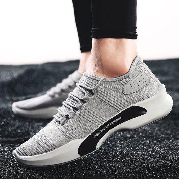 Mesh Breathable Tie Up Athletic Shoes - GRAY GRAY