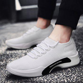 Mesh Breathable Tie Up Athletic Shoes - WHITE WHITE