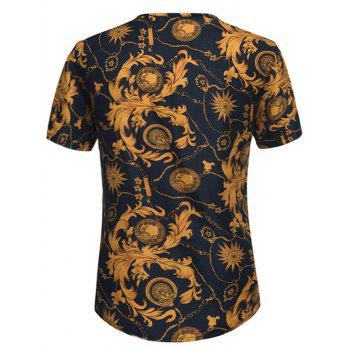 Notch Neck Retro Leaves Print Tee - COLORMIX XL