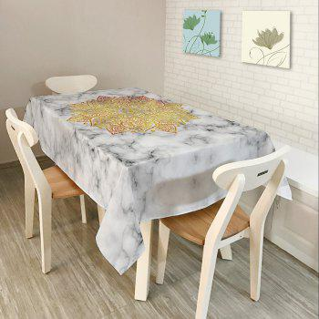 Mandala Marble Print Waterproof Table Cloth - WHITE WHITE