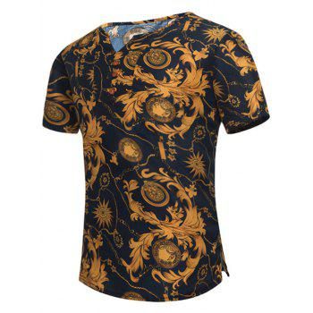 Notch Neck Retro Leaves Print Tee - COLORMIX COLORMIX