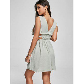 Cut Out Side Plunging Neck Mini Dress - GREEN S