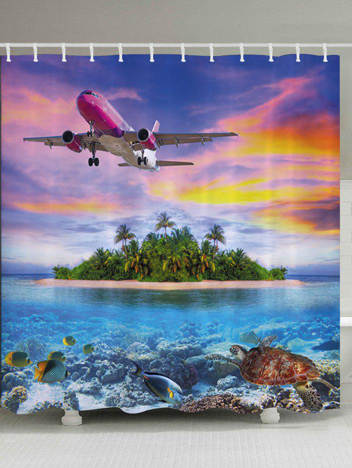Airplane Island Ocean Print Fabric Bathroom Shower Curtain качалка leader kids лошадка jr625
