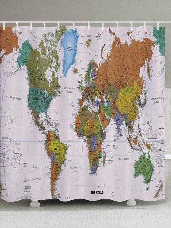 World Map Pattern Fabric Bathroom Shower Curtain map