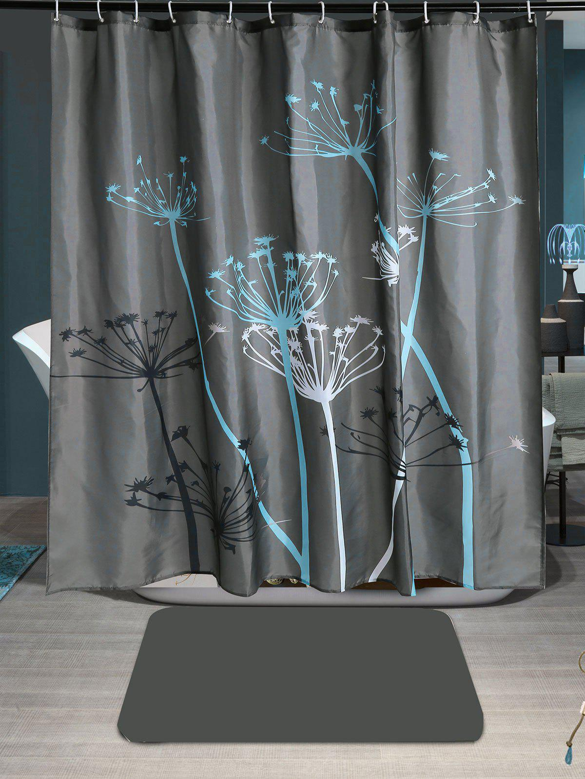 Dandelion Print Waterproof Shower Curtain