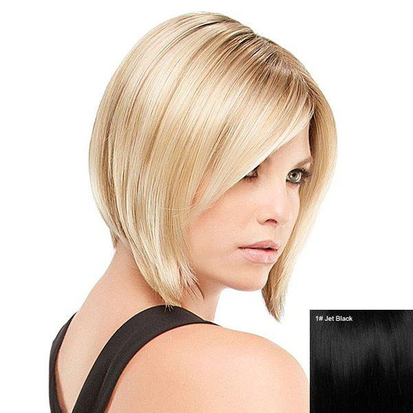 Short Side Bang Straight Inverted Bob Human Hair Wig - JET BLACK
