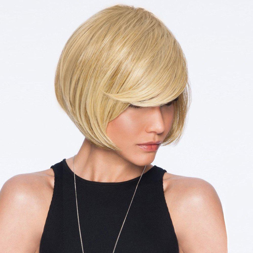 Inclined Bang Straight Short Bob Human Hair Wig - BLONDE