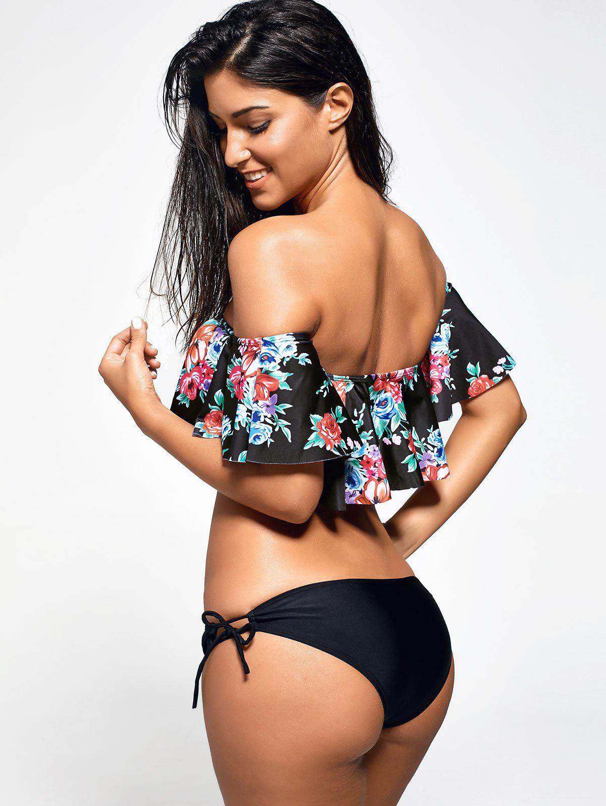 Flounce Floral Off The Shoulder Bikini Set - BLACK M