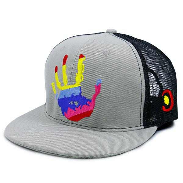 Mesh Splicing Multicolor Palm Printed Baseball Hat, Gray