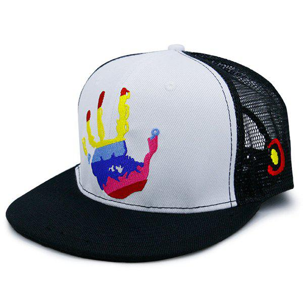 Mesh Splicing Multicolor Palm Printed Baseball Hat, White