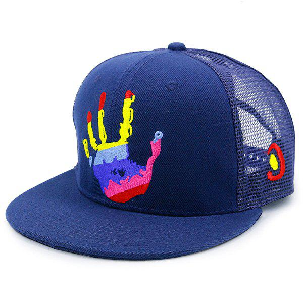 Mesh Splicing Multicolor Palm Printed Baseball Hat, Blue